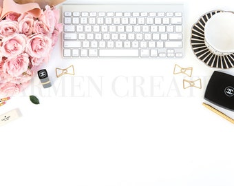 Pink and Black Styled Stock Photography, Chanel Beauty Stock Photography, Desktop Styled Stock Image