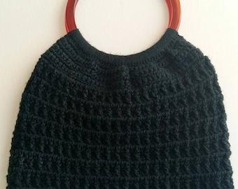 Vintage Crochet Knit Purse Handbag Granny Style With Amber Plastic Handles 1970s