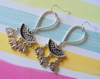 Silver Ethnic Boho Elephant Earrings (4570)