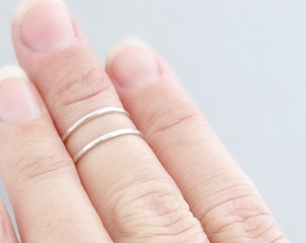Midi Rings 2 sterling silver stacking rings thin hammered stack ring