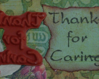 Thanks for Caring UNMOUNTED RUBBER STAMP altered collage art scrapbook mixed media