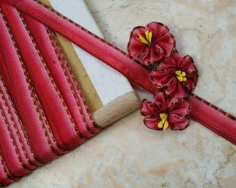 """3/8"""" Antique French Metal and Berry Red to Pink Ombre Ribbon Trim Gold,  Boudoir, ribbonworks, ribbon flowers something blue"""