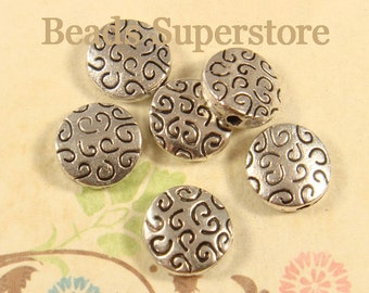 10 mm Antique Silver Flat Round Spacer Bead - Nickel Free, Lead Free and Cadmium Free - 20 pcs