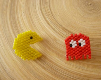 Brooches Pacman and Ghost woven miyuki beads