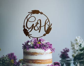 Rustic Wedding Cake Topper, Personalized Cake Topper for Wedding, Letter Cake Topper, Initials Cake Topper, Monogram Cake Topper, Boho Decor