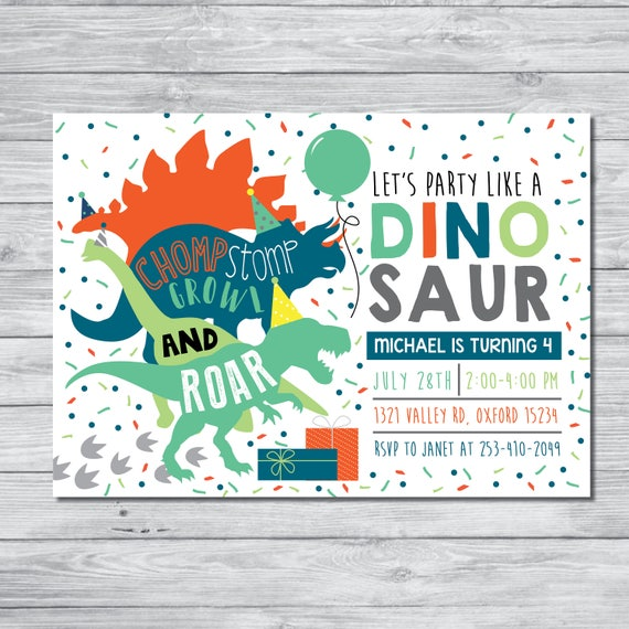 Dinosaur birthday party invitation dinosaur birthday boy stopboris Images