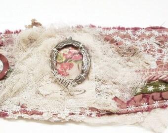Wearable art, textile art, cuff, handmade cuff, wrist cuff, fabric cuff, textile cuff, cuff bracelet, french cuff, bridal cuff, antique lace