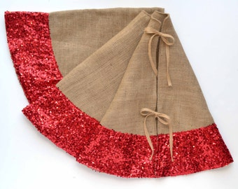 "Christmas Tree Skirt - Burlap and Red Sequins - 50"" Tree Skirt, Burlap & Sequins Tree Skirt, Burlap Tree Skirt, Red Tree Skirt"