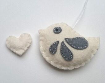 Felt bird ornament for wedding decoration bw home decor grey and white Christmas decoration - eco friendly animals for Nursery baby room
