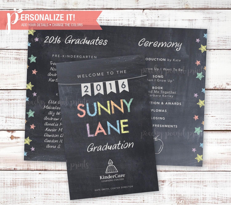 PRINTABLE Graduation Ceremony Program Chalkboard Pre-K OR