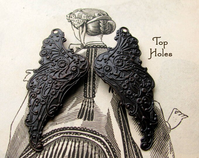 Fallen Angel Brass Wings - Archangel with drilled top holes - 1 pair of angel wing pendants, black, ornate fantasy angel wings