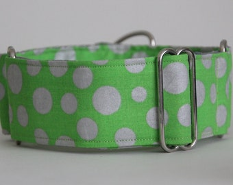 "Greyhound Green and Silver Dot 2"" Martingale Collar"