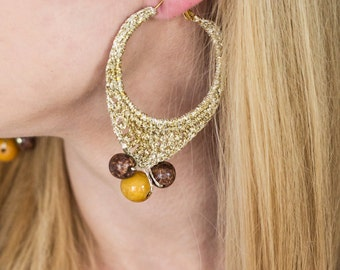 Golden Tears Crochet Earrings