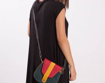 Leather Bag with Coloured Flap