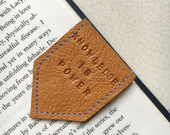 Magnetic Bookmark | Leather Bookmark Orange with Purple Suede Lining | Personalise Bookmark | 3rd Anniversary Gift | Book Lover Gift
