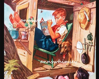 Art for Boy's Room ~ Dog and Boy and GIRL -- Little Brother Banished!  #645