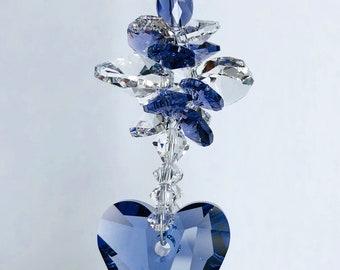 Purple Heart Suncatcher, Car Rear View Mirror, Glass Mobile, Swarovski Crystals, December Birthday, Glass Art, Remembrance, Ornament, 8985,