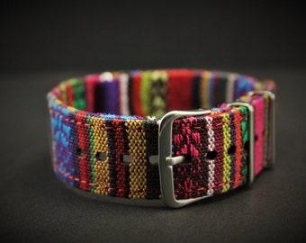 Aztec Print - Slip Thru Canvas Watch strap - 16mm Timex Weekender Seiko