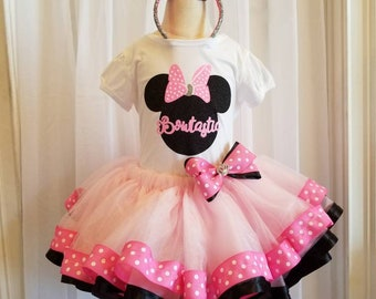 Pink and White Polka Dot Bowtastic Minnie Mouse Tutu Birthday, Special Occasion, Performance Outfit