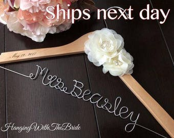 Personalized Wedding hanger, custom wire hanger, bridal hanger, bride gift, bridesmaids gift, custom hanger, wire hanger, wedding hanger