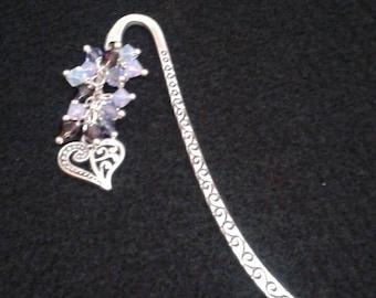 Purple crystal bead filigree heart bookmark