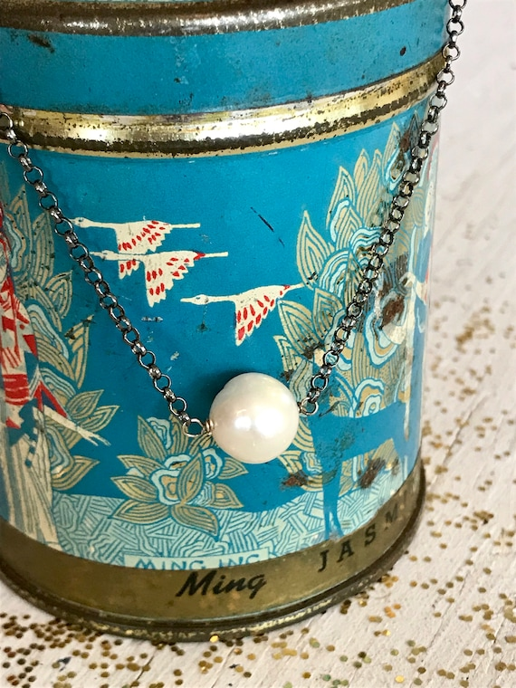 Full moon. One large white pearl suspended from antiqued or bright  sterling chain. Handmade by ladeDAH! Jewelry.