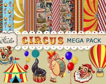 Circus Paper pack, Digital Scrapbook Clip-art, Instant Download, Carnival Scrapbook supplies, Cards, Digital Collage, Circus Tent, clowns