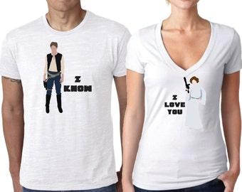 Star Wars Shirt, Couple Shirt, Han Solo and Princess Leia Shirts