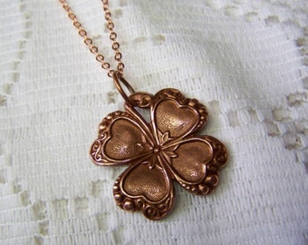 Bright Copper CLOVER Necklace, Lucky Charm, Irish jewelry, four leaf clover, LUCKY SHAMROCK pendant