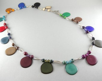 Eco Tagua Nuts, Acai Seeds, Swarovski Crystal, Handmade Sterling Sliver, Long Necklace with Free USA Shipping #taguanut #ecofriendlyjewelry