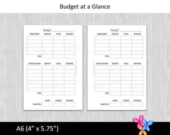 A6: Budget at a Glance • Budget Binder Printable Page Insert for A6 sized Disc or Ring Bound Planners • INSTANT DOWNLOAD