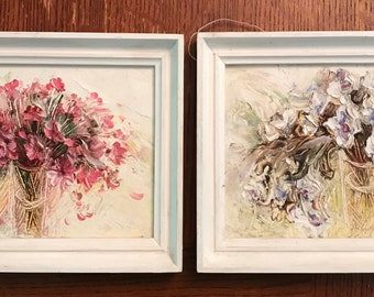 2 Beautiful Floral Paintings, artist signed, from Donetsk, Ukraine, shabby chic