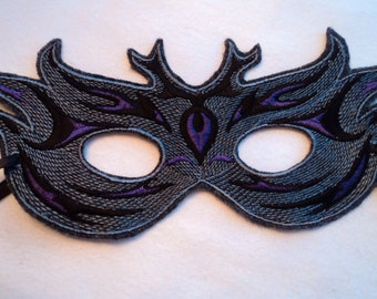 Grey, Black and Purple Party Mask