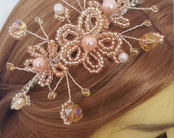 Champagne Side Tiara. Side Tiara. Hair accessories