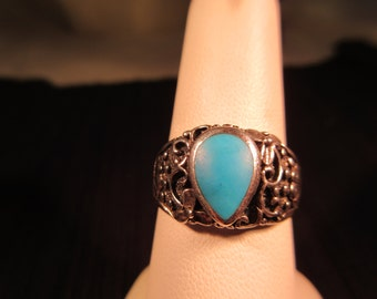 Tribal Sterling Silver Turquoise Ring - 8