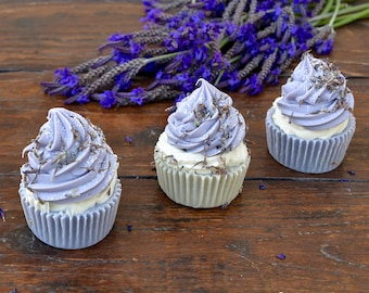 Lavender Natural Soap with Organic Oils, Soap Cupcake, Handmade Soap,