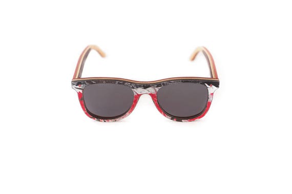 skateboard recycled sunglasses BUMP shape ! Polarized Black red white #madeinfrance