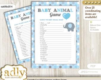 Boy Peanut Baby Animal Game, guess Animals Printable Card for Baby Peanut Shower DIY Blue Grey Polka - oz69bsB14