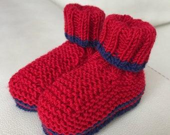 Handmade baby booties 3-6 months red and blue marune Merino