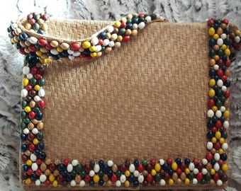 1940s Woven Sisal Handbag/Purse with Wooden Beads