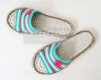 Crochet pattern-sandals with jute rope soles,slip-ons,slippers,flip-flops l,scuffs,shoes,loafers,women sizes,adult,girl,footwear,cord,twine