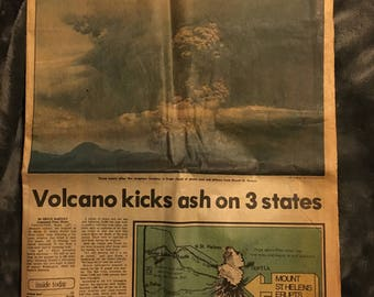 Everett Herald, Monday, May 19, 1980 newspaper with Mount St. Helens eruption pictures, articles, interviews, Miami riots, 7 two sided pages