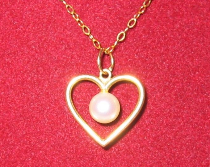 "14K Solid Yellow Gold, ""Pearl in Heart"" Pendent or Charm...CUTE !"