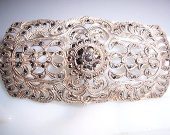 Antique Vintage Sterling Silver 925 Openwork Marcasite Brooch Pin