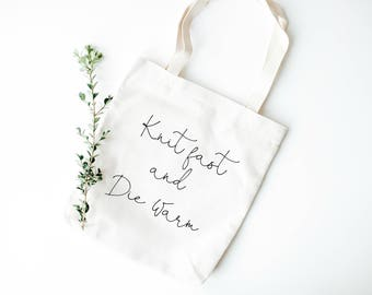 Knit fast and die warm, Knitting Bag, Knitting tote Bag, Gift for knitters, Knitter Tote Bag, Knitting Gift, Funny Knitting Bag, Knitting