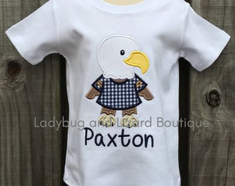 Boy's Eagle Mascot Short/Long Sleeve Top with Monogram Sizes 12M-18M, 2T-5T, 6