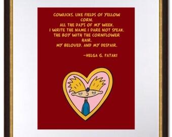 Hey Arnold Locket Image-Helga Poem Quote-90's Nickelodeon-Digital Print