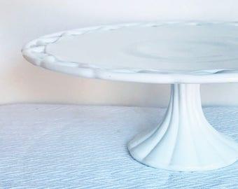 Vintage Pitman Dreitzer Colony Lace White Milk Glass Pedestal Cake Stand