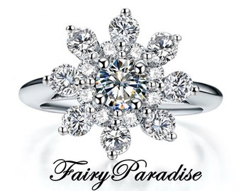 Snowflake Ring with 0.5 Ct Man Made Diamond Center Stone, Art Deco Flower Engagement Ring, Winter Jewelry, Christmas Wedding Jewelry