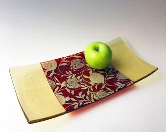 Pomegranate Fused Glass Serving Platter, Pomegranate Fruit, Nature